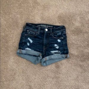 Dark wash front ripped shorts soft and stretchy